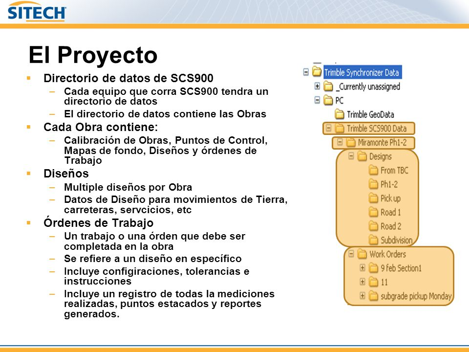 El Proyecto Directorio de datos de SCS900 –Cada equipo que corra SCS900 tendra un directorio de datos –El directorio de datos contiene las Obras Cada Obra contiene: –Calibración de Obras, Puntos de Control, Mapas de fondo, Diseños y órdenes de Trabajo Diseños –Multiple diseños por Obra –Datos de Diseño para movimientos de Tierra, carreteras, servcicios, etc Órdenes de Trabajo –Un trabajo o una órden que debe ser completada en la obra –Se refiere a un diseño en específico –Incluye configiraciones, tolerancias e instrucciones –Incluye un registro de todas la mediciones realizadas, puntos estacados y reportes generados.