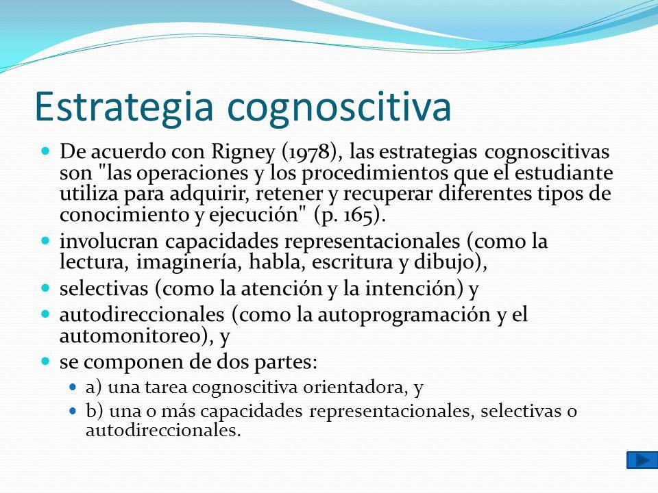 Estrategia cognoscitiva De acuerdo con Rigney (1978), las estrategias cognoscitivas son