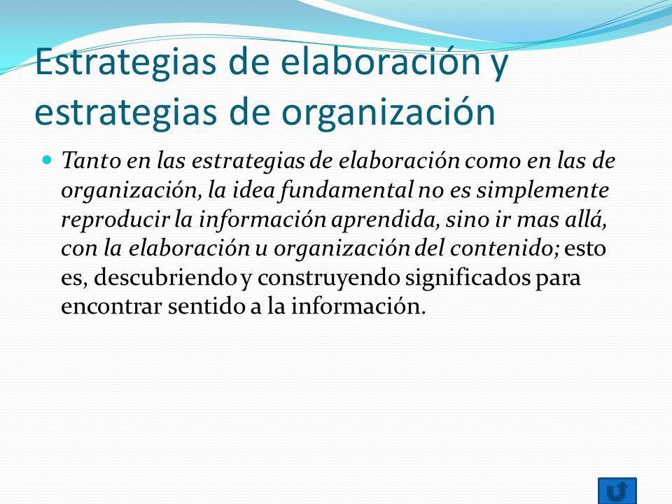 Estrategias de elaboración y estrategias de organización Tanto en las estrategias de elaboración como en las de organización, la idea fundamental no e