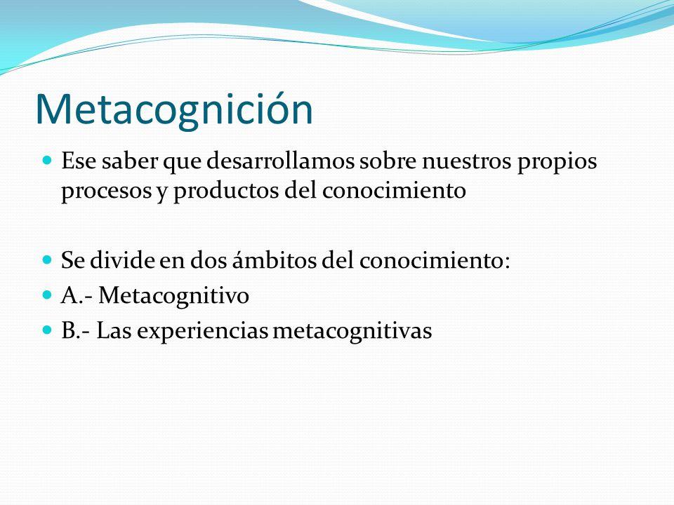 Ese saber que desarrollamos sobre nuestros propios procesos y productos del conocimiento Se divide en dos ámbitos del conocimiento: A.- Metacognitivo
