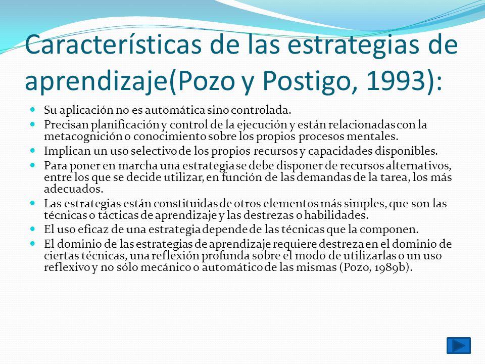 Características de las estrategias de aprendizaje(Pozo y Postigo, 1993): Su aplicación no es automática sino controlada. Precisan planificación y cont