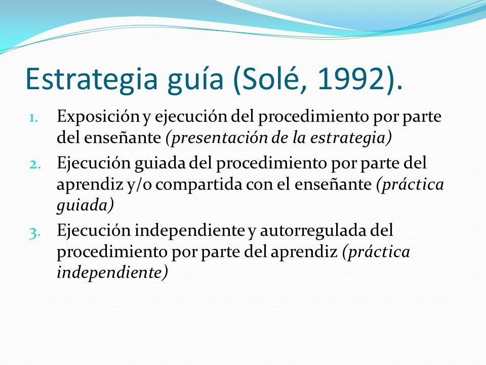 Estrategia guía (Solé, 1992). 1. Exposición y ejecución del procedimiento por parte del enseñante (presentación de la estrategia) 2. Ejecución guiada