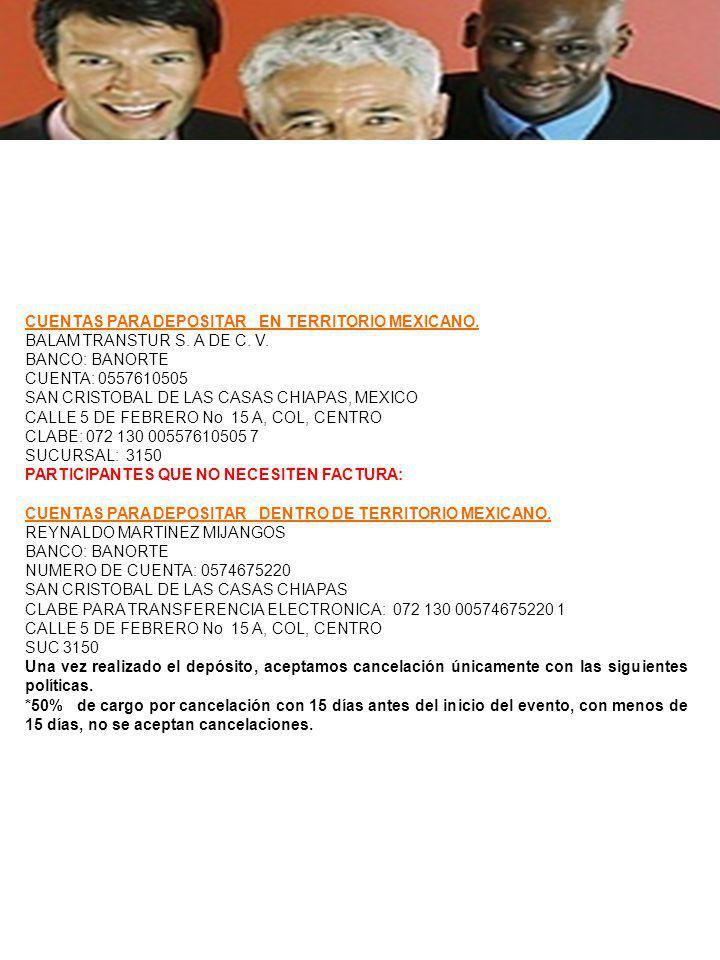 CUENTAS PARA DEPOSITAR EN TERRITORIO MEXICANO. BALAM TRANSTUR S.