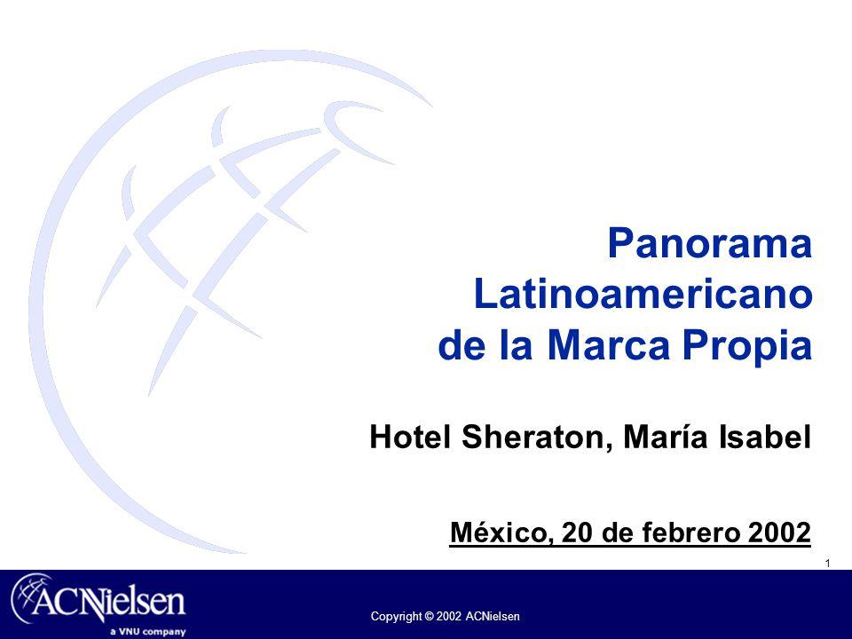 1 Copyright © 2002 ACNielsen Panorama Latinoamericano de la Marca Propia Hotel Sheraton, María Isabel México, 20 de febrero 2002