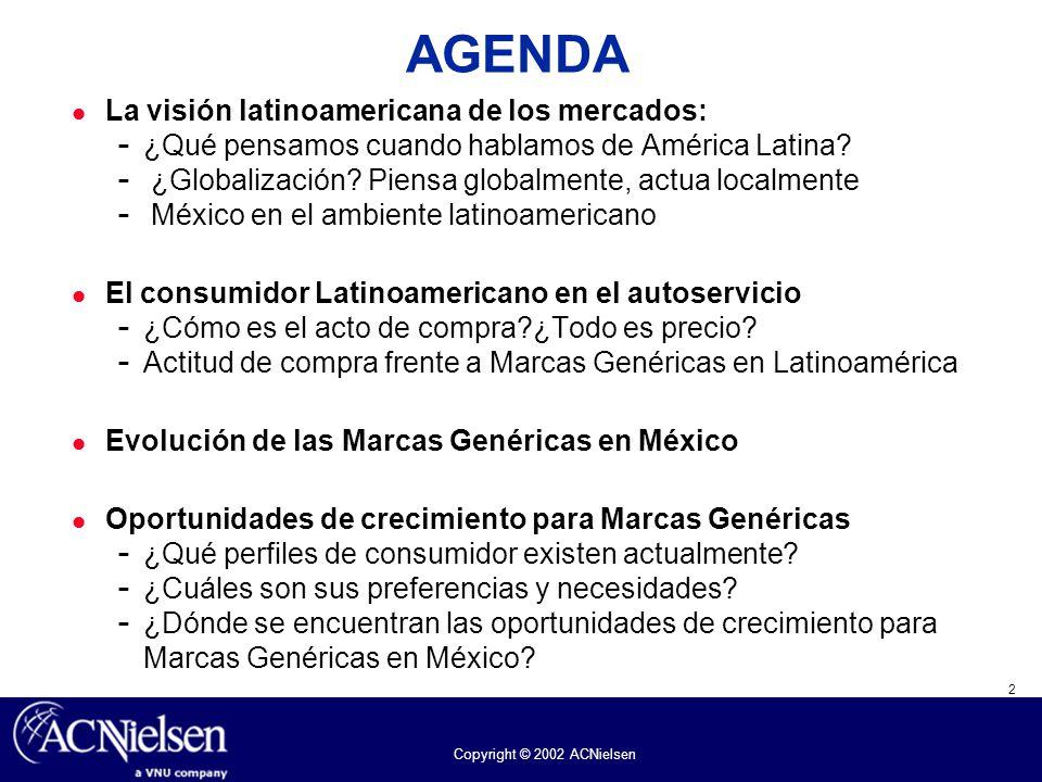 2 Copyright © 2002 ACNielsen AGENDA La visión latinoamericana de los mercados:  ¿Qué pensamos cuando hablamos de América Latina?  ¿Globalización? Pi
