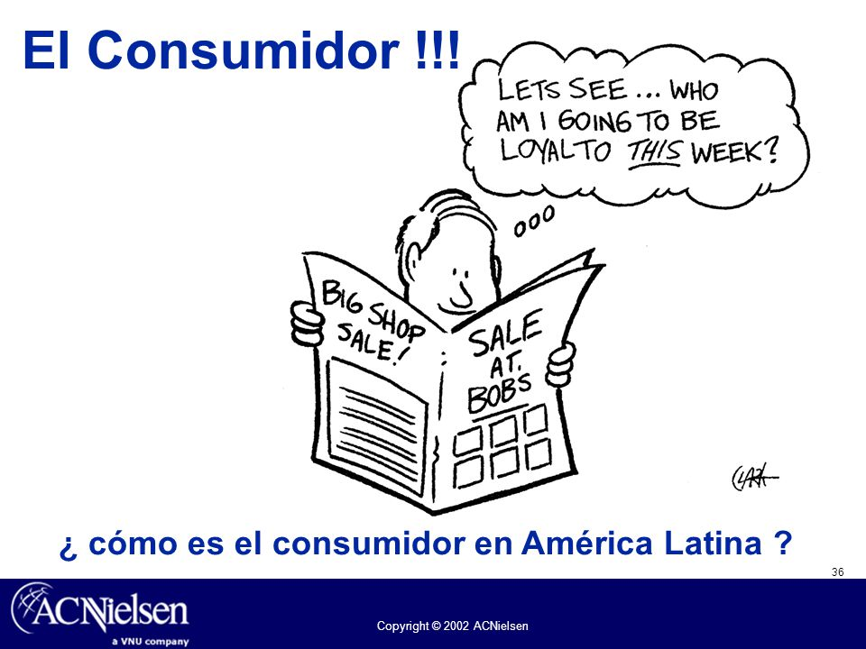 36 Copyright © 2002 ACNielsen El Consumidor !!! ¿ cómo es el consumidor en América Latina ?