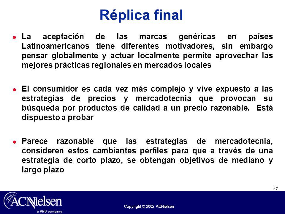 47 Copyright © 2002 ACNielsen Réplica final La aceptación de las marcas genéricas en países Latinoamericanos tiene diferentes motivadores, sin embargo