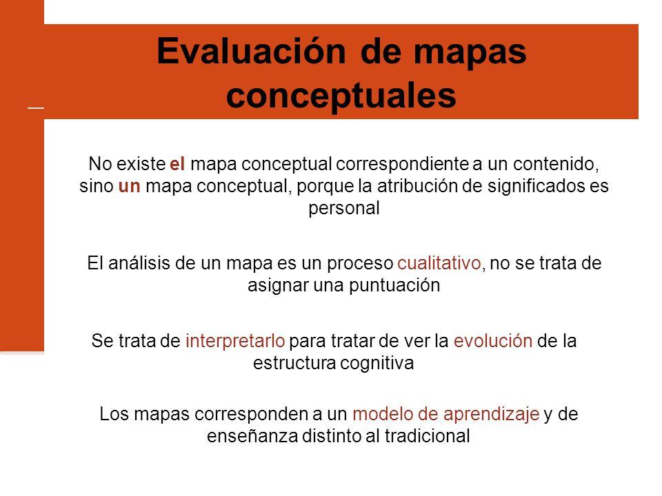 Evaluación de mapas conceptuales No existe el mapa conceptual correspondiente a un contenido, sino un mapa conceptual, porque la atribución de significados es personal El análisis de un mapa es un proceso cualitativo, no se trata de asignar una puntuación Se trata de interpretarlo para tratar de ver la evolución de la estructura cognitiva Los mapas corresponden a un modelo de aprendizaje y de enseñanza distinto al tradicional