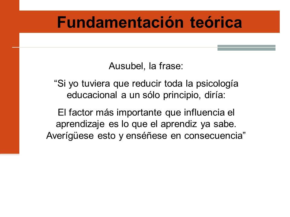 Fundamentación teórica Ausubel, la frase: Si yo tuviera que reducir toda la psicología educacional a un sólo principio, diría: El factor más important