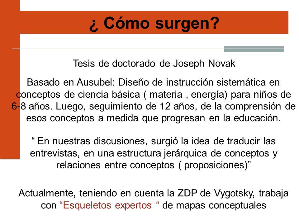 ¿ Cómo surgen? Tesis de doctorado de Joseph Novak Basado en Ausubel: Diseño de instrucción sistemática en conceptos de ciencia básica ( materia, energ