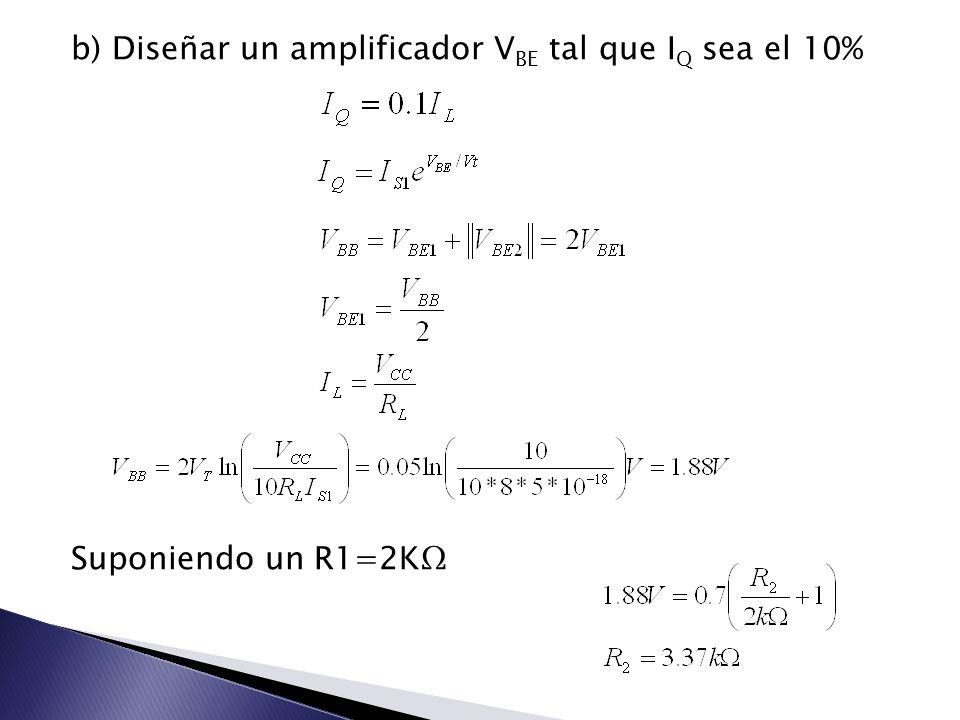 b) Diseñar un amplificador V BE tal que I Q sea el 10% Suponiendo un R1=2K