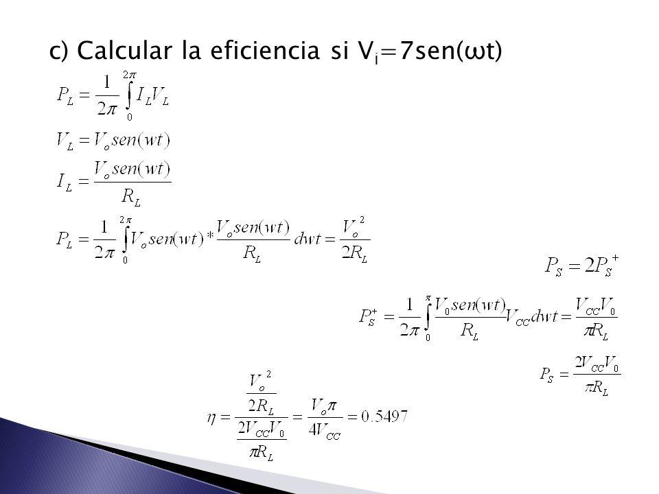 c) Calcular la eficiencia si V i =7sen(ωt)
