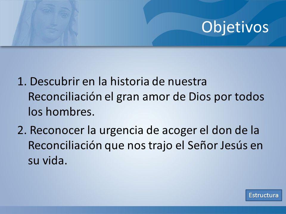 Objetivos 1. Descubrir en la historia de nuestra Reconciliación el gran amor de Dios por todos los hombres. 2. Reconocer la urgencia de acoger el don
