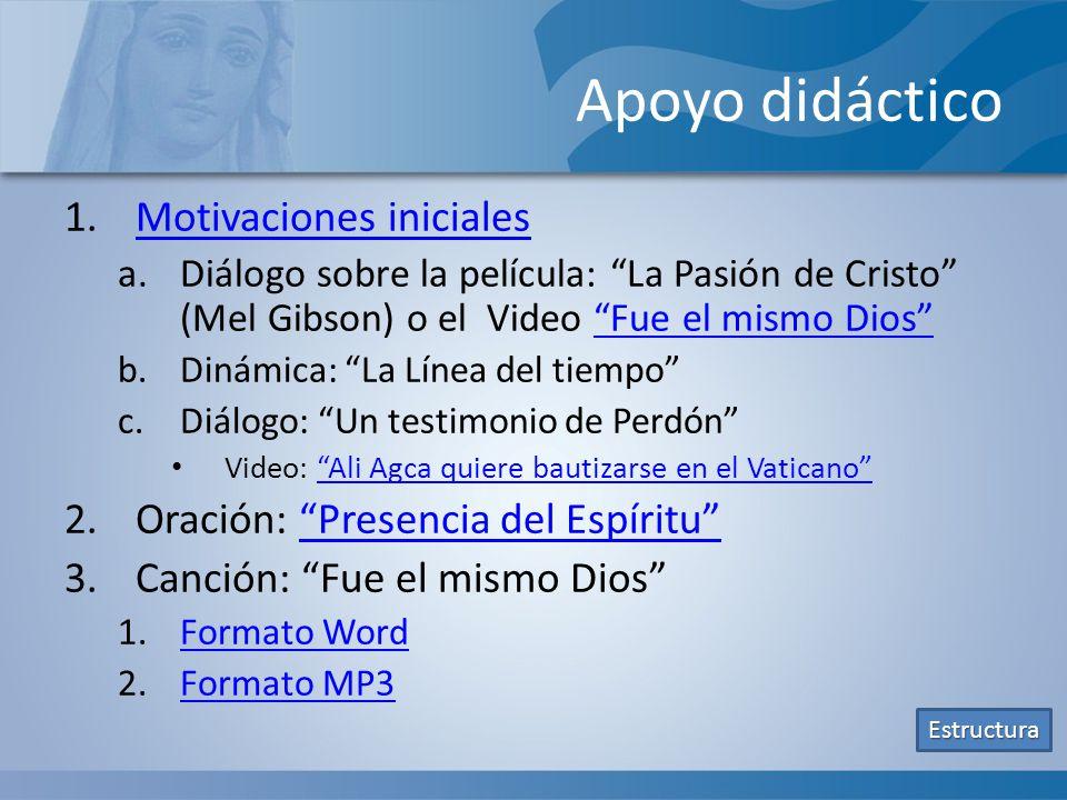 Apoyo didáctico 1.Motivaciones inicialesMotivaciones iniciales a.Diálogo sobre la película: La Pasión de Cristo (Mel Gibson) o el Video Fue el mismo D