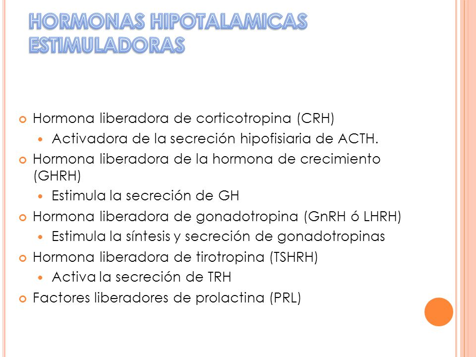Hormona liberadora de corticotropina (CRH) Activadora de la secreción hipofisiaria de ACTH. Hormona liberadora de la hormona de crecimiento (GHRH) Est