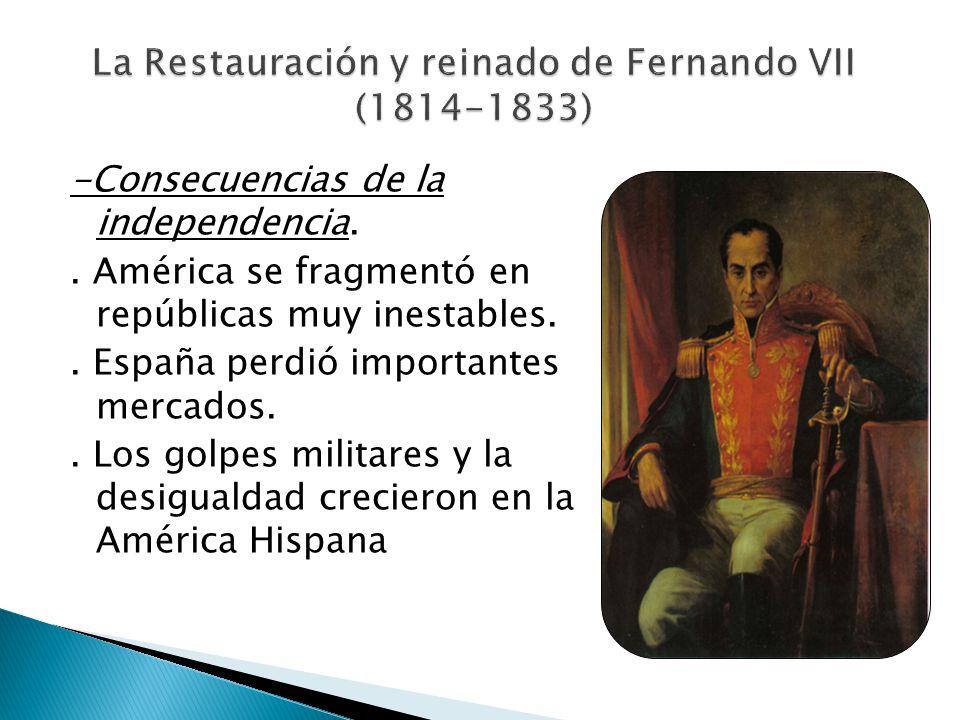 -Consecuencias de la independencia.. América se fragmentó en repúblicas muy inestables.. España perdió importantes mercados.. Los golpes militares y l