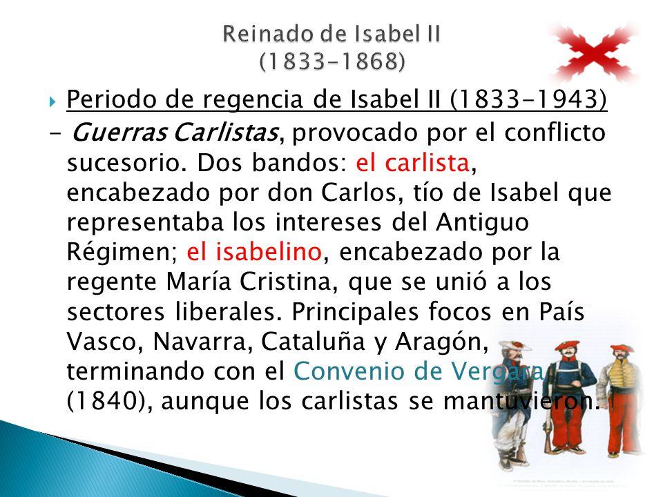 Periodo de regencia de Isabel II (1833-1943) - Guerras Carlistas, provocado por el conflicto sucesorio. Dos bandos: el carlista, encabezado por don Ca