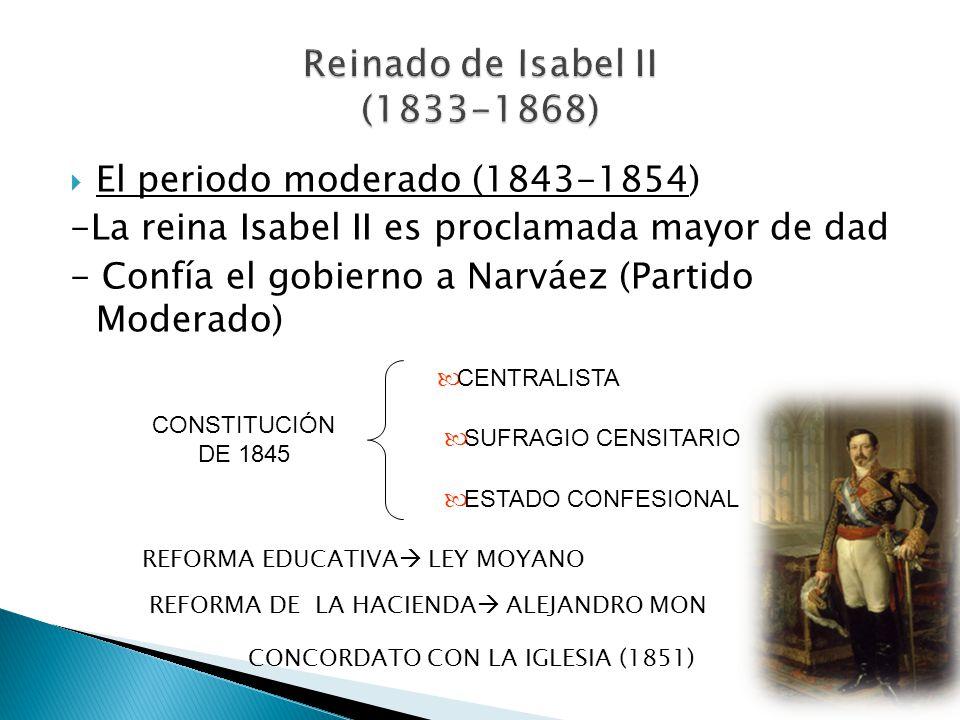 El periodo moderado (1843-1854) -La reina Isabel II es proclamada mayor de dad - Confía el gobierno a Narváez (Partido Moderado) CONSTITUCIÓN DE 1845