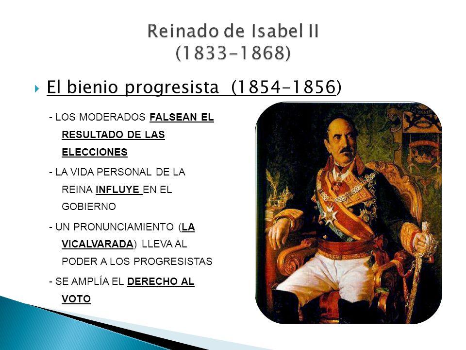 El bienio progresista (1854-1856) - LOS MODERADOS FALSEAN EL RESULTADO DE LAS ELECCIONES - LA VIDA PERSONAL DE LA REINA INFLUYE EN EL GOBIERNO - UN PR