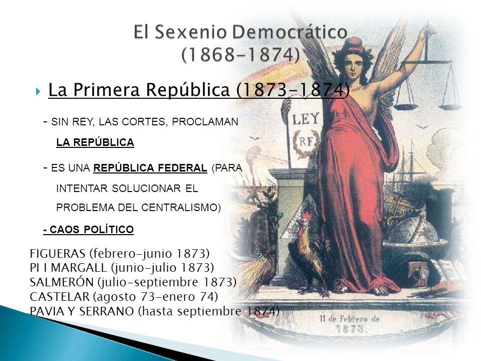 La Primera República (1873-1874) - SIN REY, LAS CORTES, PROCLAMAN LA REPÚBLICA - ES UNA REPÚBLICA FEDERAL (PARA INTENTAR SOLUCIONAR EL PROBLEMA DEL CE