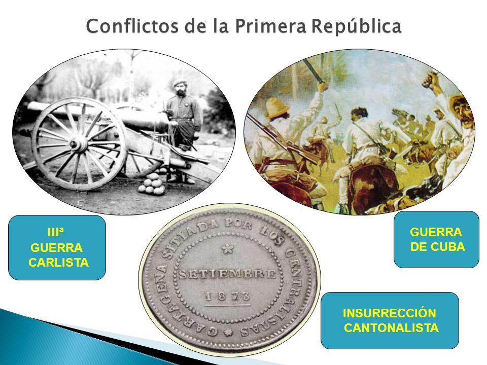 Conflictos de la Primera República III ª GUERRA CARLISTA INSURRECCIÓN CANTONALISTA GUERRA DE CUBA