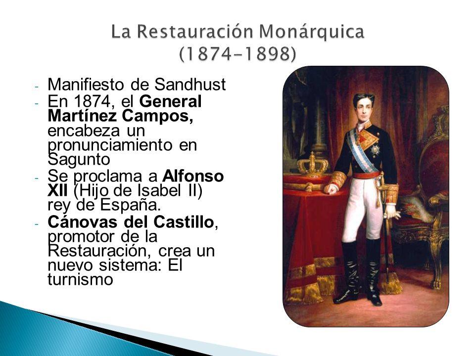 - Manifiesto de Sandhust - En 1874, el General Martínez Campos, encabeza un pronunciamiento en Sagunto - Se proclama a Alfonso XII (Hijo de Isabel II)