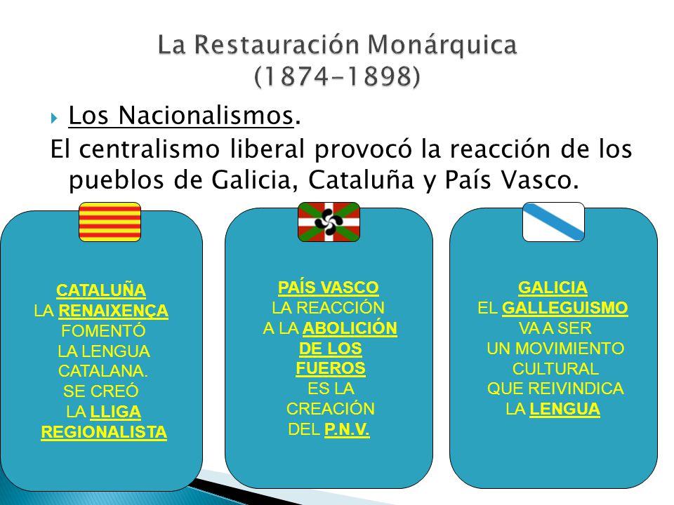 Los Nacionalismos. El centralismo liberal provocó la reacción de los pueblos de Galicia, Cataluña y País Vasco. CATALUÑA LA RENAIXENÇA FOMENTÓ LA LENG