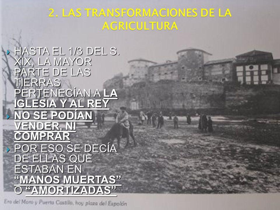 2. LAS TRANSFORMACIONES DE LA AGRICULTURA HASTA EL 1/3 DEL S. XIX, LA MAYOR PARTE DE LAS TIERRAS PERTENECÍAN A LA IGLESIA Y AL REY HASTA EL 1/3 DEL S.