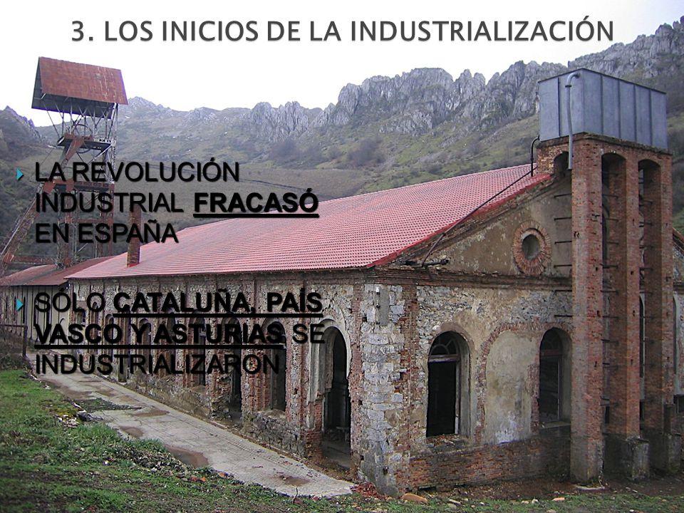 3. LOS INICIOS DE LA INDUSTRIALIZACIÓN LA REVOLUCIÓN INDUSTRIAL FRACASÓ EN ESPAÑA LA REVOLUCIÓN INDUSTRIAL FRACASÓ EN ESPAÑA SÓLO CATALUÑA, PAÍS VASCO