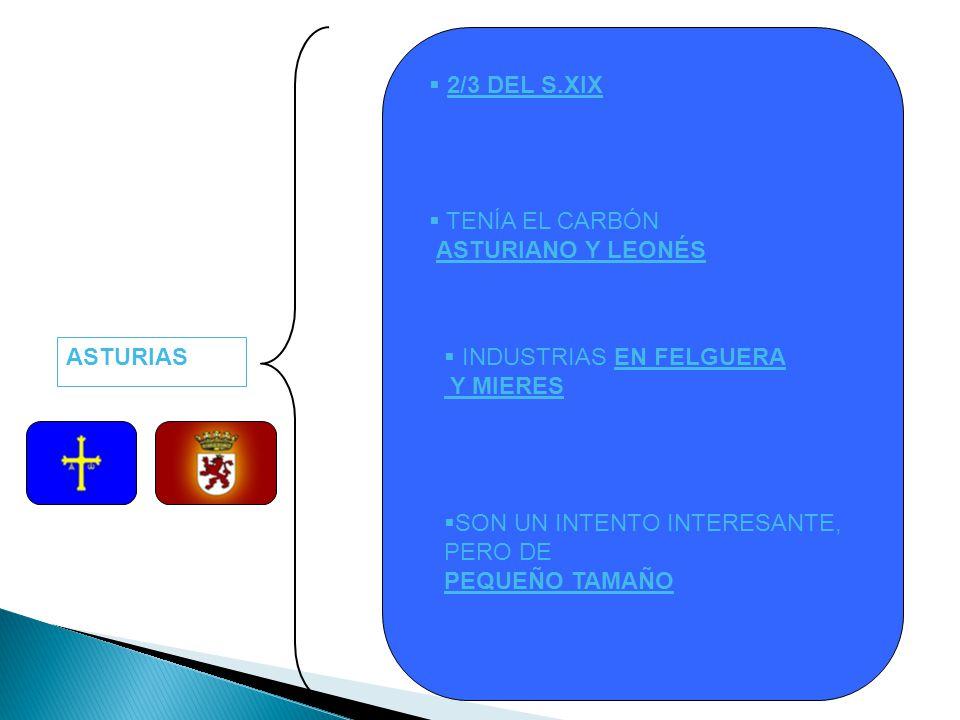 ASTURIAS 2/3 DEL S.XIX TENÍA EL CARBÓN ASTURIANO Y LEONÉS INDUSTRIAS EN FELGUERA Y MIERES SON UN INTENTO INTERESANTE, PERO DE PEQUEÑO TAMAÑO