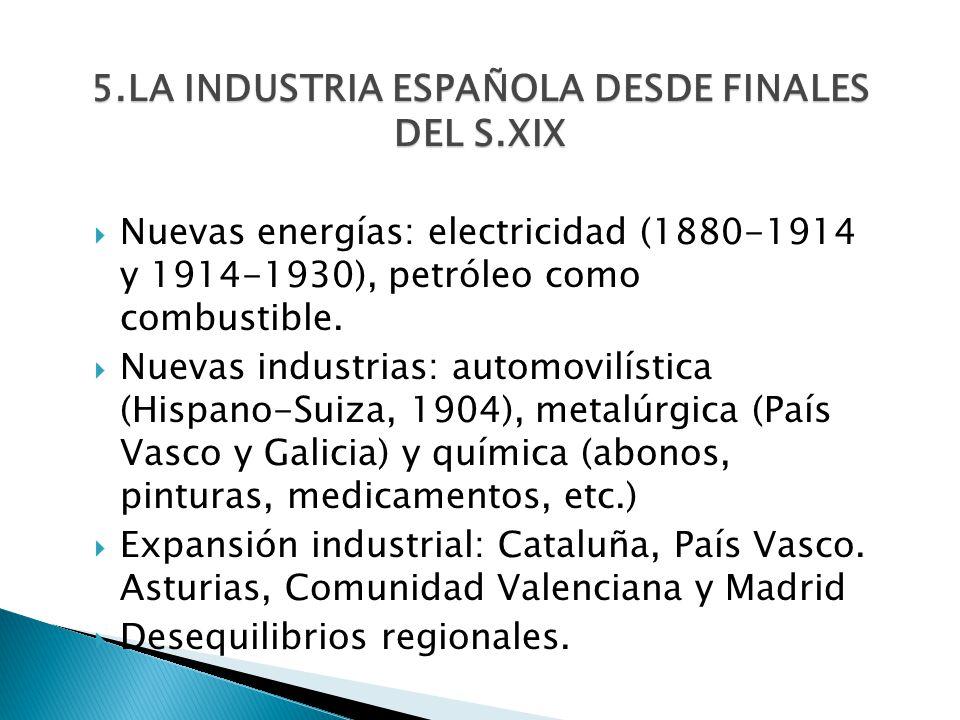5.LA INDUSTRIA ESPAÑOLA DESDE FINALES DEL S.XIX Nuevas energías: electricidad (1880-1914 y 1914-1930), petróleo como combustible. Nuevas industrias: a