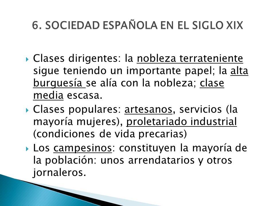 6. SOCIEDAD ESPAÑOLA EN EL SIGLO XIX Clases dirigentes: la nobleza terrateniente sigue teniendo un importante papel; la alta burguesía se alía con la