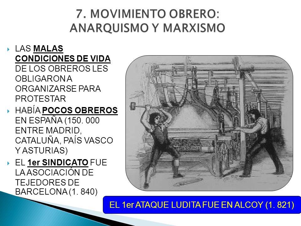 7. MOVIMIENTO OBRERO: ANARQUISMO Y MARXISMO LAS MALAS CONDICIONES DE VIDA DE LOS OBREROS LES OBLIGARON A ORGANIZARSE PARA PROTESTAR HABÍA POCOS OBRERO