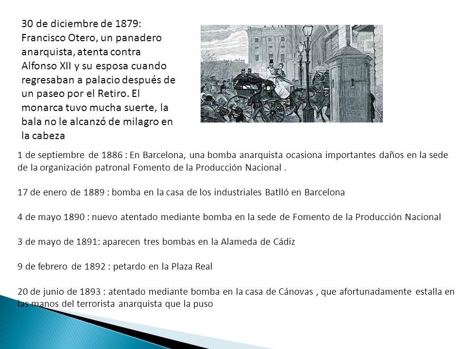 30 de diciembre de 1879: Francisco Otero, un panadero anarquista, atenta contra Alfonso XII y su esposa cuando regresaban a palacio después de un pase