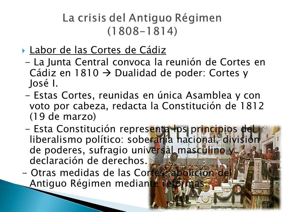 Labor de las Cortes de Cádiz - La Junta Central convoca la reunión de Cortes en Cádiz en 1810 Dualidad de poder: Cortes y José I. - Estas Cortes, reun