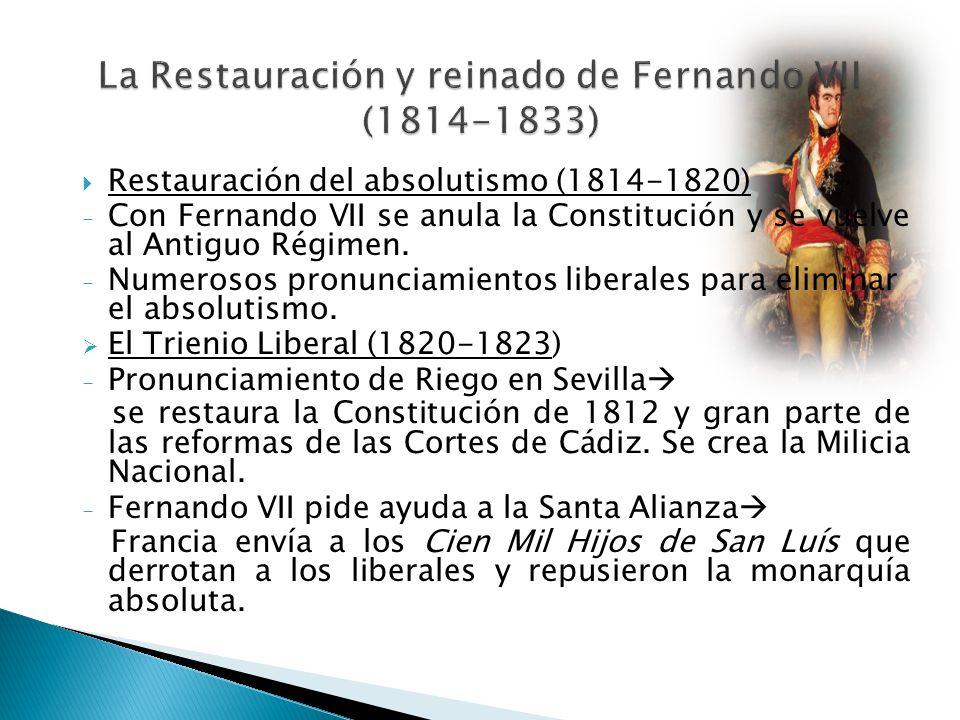 Restauración del absolutismo (1814-1820) - Con Fernando VII se anula la Constitución y se vuelve al Antiguo Régimen. - Numerosos pronunciamientos libe