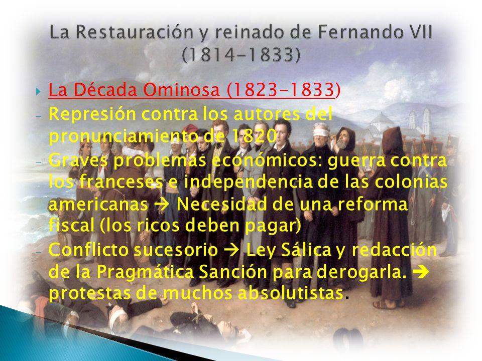 La Década Ominosa (1823-1833) - Represión contra los autores del pronunciamiento de 1820 - Graves problemas económicos: guerra contra los franceses e