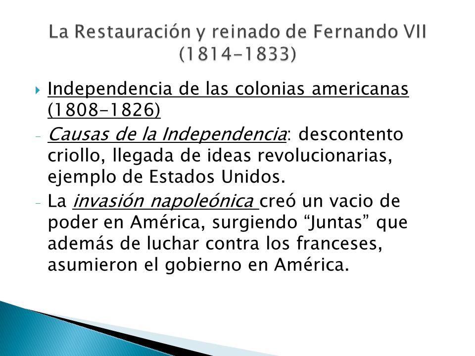 Independencia de las colonias americanas (1808-1826) - Causas de la Independencia: descontento criollo, llegada de ideas revolucionarias, ejemplo de E