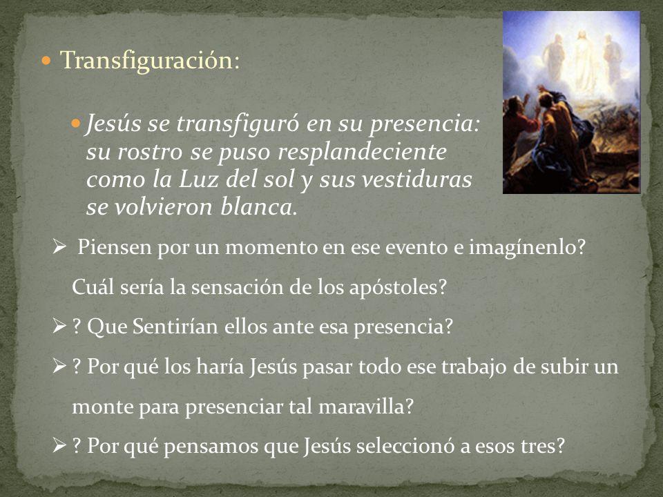 Transfiguración: Jesús se transfiguró en su presencia: su rostro se puso resplandeciente como la Luz del sol y sus vestiduras se volvieron blanca. Pie