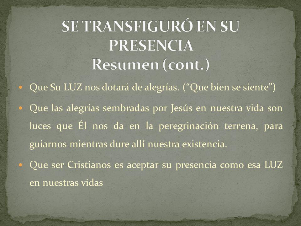 Que Su LUZ nos dotará de alegrías. (Que bien se siente) Que las alegrías sembradas por Jesús en nuestra vida son luces que Él nos da en la peregrinaci