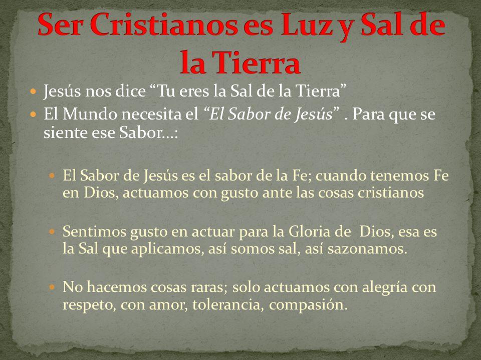 Jesús nos dice Tu eres la Sal de la Tierra El Mundo necesita el El Sabor de Jesús. Para que se siente ese Sabor…: El Sabor de Jesús es el sabor de la