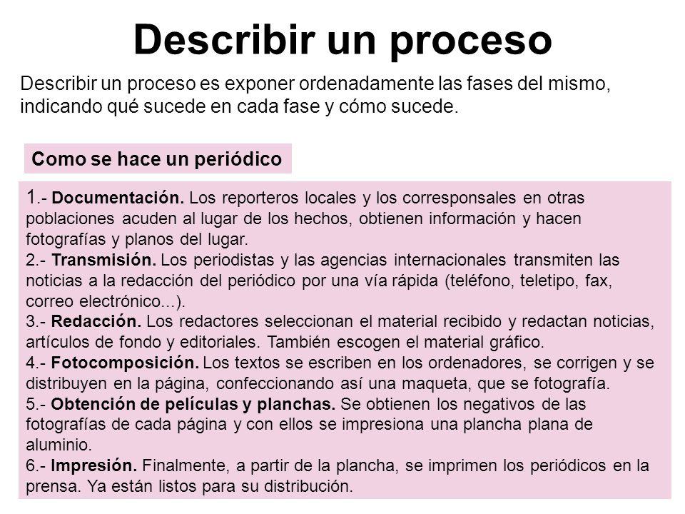 Describir un proceso Describir un proceso es exponer ordenadamente las fases del mismo, indicando qué sucede en cada fase y cómo sucede.