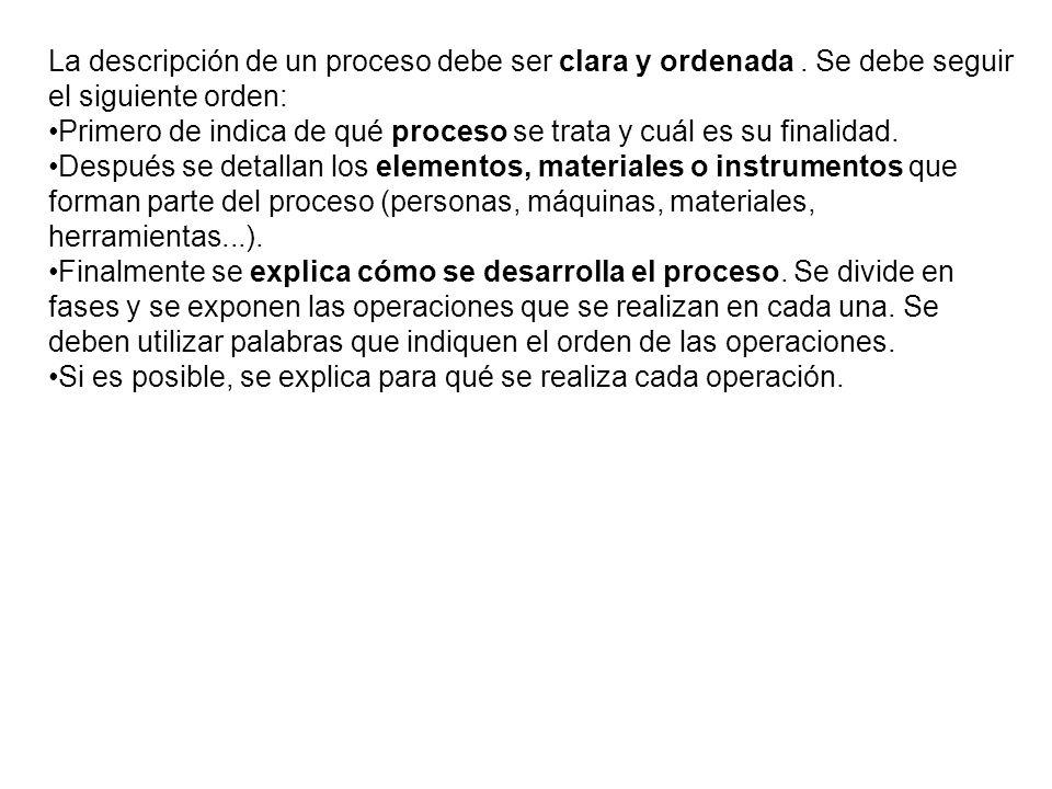 La descripción de un proceso debe ser clara y ordenada.