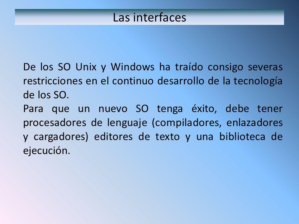 Las interfaces De los SO Unix y Windows ha traído consigo severas restricciones en el continuo desarrollo de la tecnología de los SO. Para que un nuev