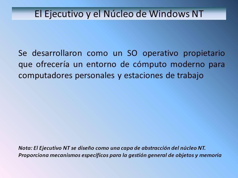 Organización de Windows NT/2000/XP La arquitectura de SO de Windows NT está estructurada lógicamente en capas con una capa de abstracción de hardware ( HAL, hardware abstraction layer ), el Núcleo NT, el Ejecutivo NT, y diversos subsistemas sobre el ejecutivo NT.