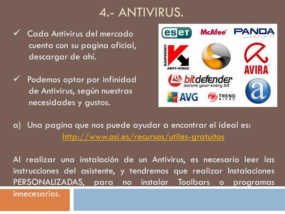4.- ANTIVIRUS. Cada Antivirus del mercado cuenta con su pagina oficial, descargar de ahí. Podemos optar por infinidad de Antivirus, según nuestras nec