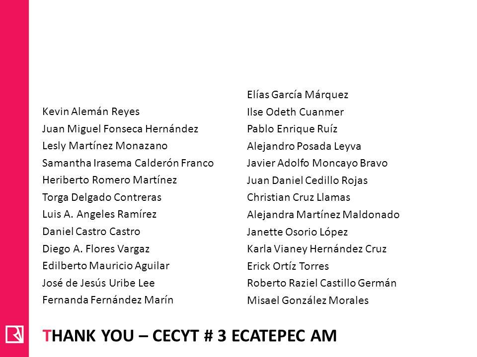 THANK YOU – CECYT # 3 ECATEPEC AM Kevin Alemán Reyes Juan Miguel Fonseca Hernández Lesly Martínez Monazano Samantha Irasema Calderón Franco Heriberto