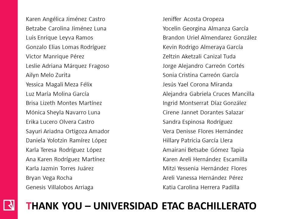 THANK YOU – UNIVERSIDAD ETAC BACHILLERATO Karen Angélica Jiménez Castro Betzabe Carolina Jiménez Luna Luis Enrique Leyva Ramos Gonzalo Elias Lomas Rod