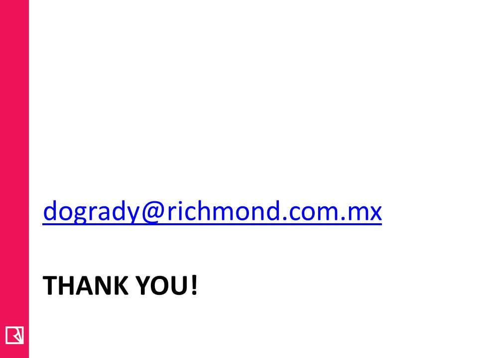THANK YOU! dogrady@richmond.com.mx