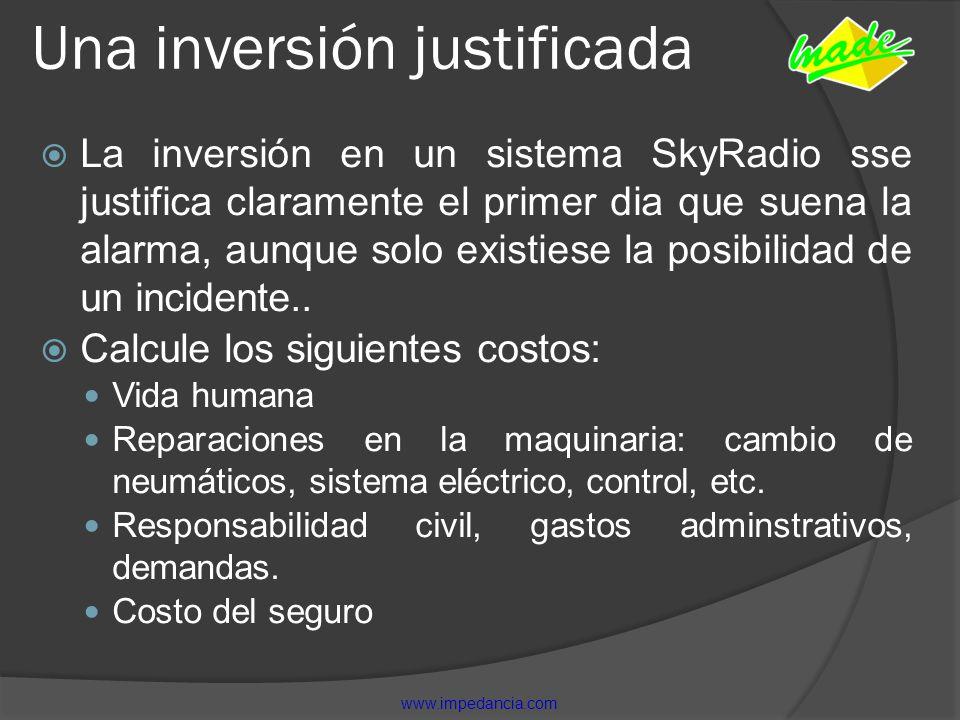 Una inversión justificada La inversión en un sistema SkyRadio sse justifica claramente el primer dia que suena la alarma, aunque solo existiese la pos